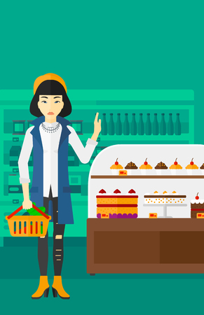 refusing: An asian woman holding a basket full of healthy food and refusing junk food on a supermarket background vector flat design illustration. Vertical layout.