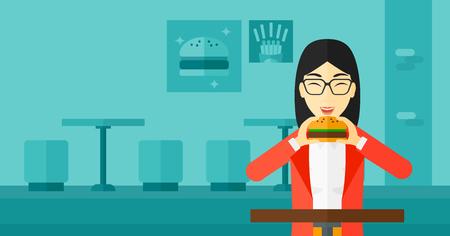 woman eating: An asian woman eating hamburger on a cafe background vector flat design illustration. Horizontal layout. Illustration