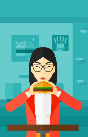 asian woman: An asian woman eating hamburger on a cafe background vector flat design illustration. Vertical layout. Illustration