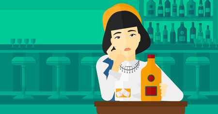 An asian sad woman sitting at the table with a bottle and a glass at the bar vector flat design illustration. Horizontal layout.
