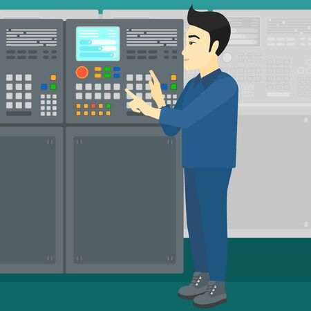 An asian man working on control panel at factory workshop vector flat design illustration. Square layout.