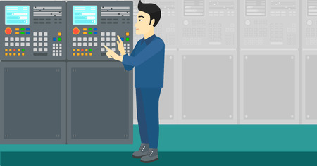 An asian man working on control panel at factory workshop vector flat design illustration. Horizontal layout.