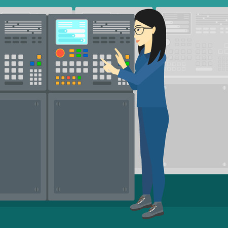 female connector: An asian woman working with control panel at factory workshop vector flat design illustration. Square layout.