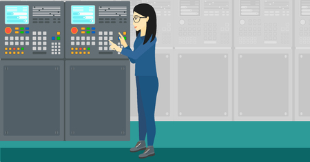 flat panel: An asian woman working with control panel at factory workshop vector flat design illustration. Horizontal layout.