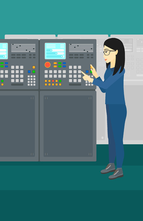 flat panel: An asian woman working with control panel at factory workshop vector flat design illustration. Vertical layout.