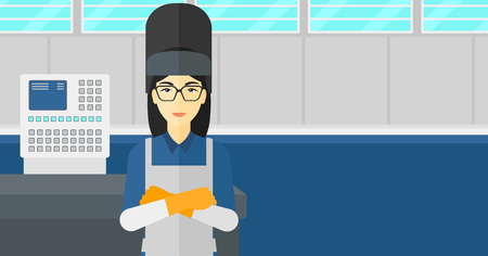 An asian woman at factory workshop background vector flat design illustration. Horizontal layout.