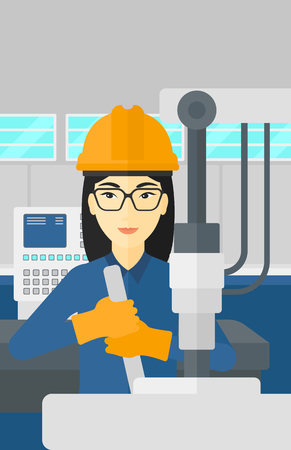 energy work: An asian woman working with an industrial equipment at factory workshop background vector flat design illustration. Vertical layout. Illustration