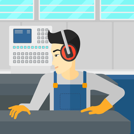 An asian man working on a steel-rolling mill at factory workshop background vector flat design illustration. Square layout. Иллюстрация