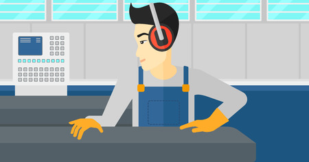 An asian man working on a steel-rolling mill at factory workshop background vector flat design illustration. Horizontal layout. Иллюстрация