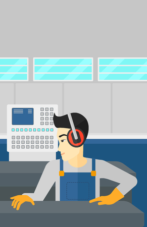 An asian man working on a steel-rolling mill at factory workshop background vector flat design illustration. Vertical layout. Иллюстрация
