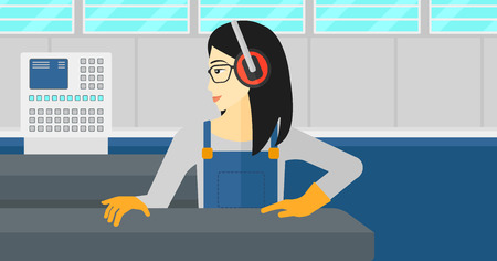 An asian woman working on a steel-rolling mill at factory workshop background vector flat design illustration. Horizontal layout. Иллюстрация