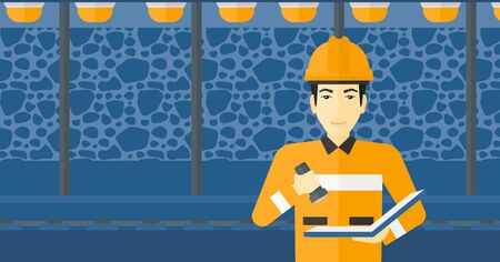 mine lamp: An asian man checking a paper plan with the flashlight on the background of mining tunnel with lights and rails vector flat design illustration. Horizontal layout.