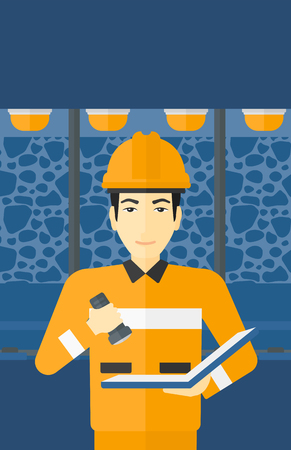 mine lamp: An asian man checking a paper plan with the flashlight on the background of mining tunnel with lights and rails vector flat design illustration. Vertical layout.