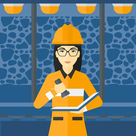 inspector: An asian woman checking a paper plan with the flashlight on the background of mining tunnel with lights and rails vector flat design illustration. Square layout.