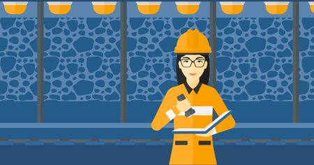 An asian woman checking a paper plan with the flashlight on the background of mining tunnel with lights and rails vector flat design illustration. Horizontal layout.