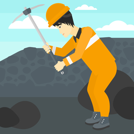 pickaxe: An asian man working with a pickaxe on the background of coal mine vector flat design illustration. Square layout.