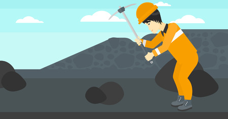 An asian man working with a pickaxe on the background of coal mine vector flat design illustration. Horizontal layout.