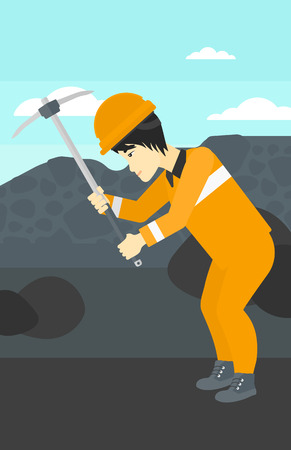 quarry: An asian  man working with a pickaxe on the background of coal mine vector flat design illustration. Vertical layout. Illustration