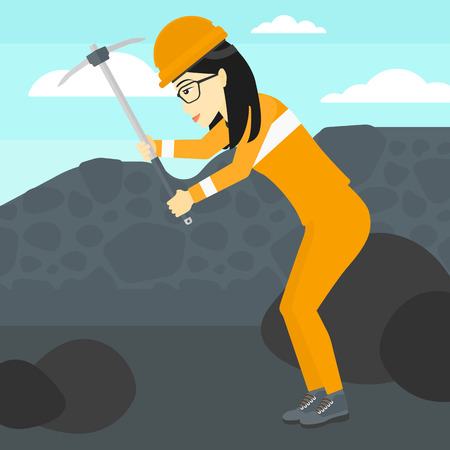 coal mine: An asian woman working with a pickaxe on the background of coal mine vector flat design illustration. Square layout.