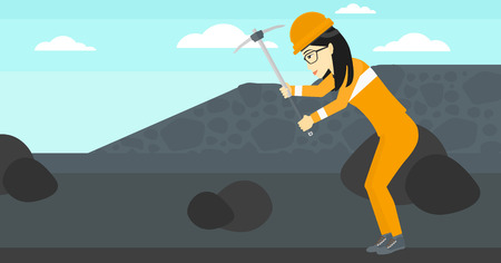 pickaxe: An asian woman working with a pickaxe on the background of coal mine vector flat design illustration. Horizontal layout.