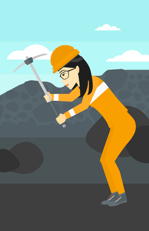 coal mine: An asian woman working with a pickaxe on the background of coal mine vector flat design illustration. Vertical layout. Illustration
