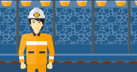 An asian man in hardhat with torch on the background of mining tunnel with lights and rails vector flat design illustration. Horizontal layout.