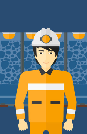 mine lamp: An asian man in hardhat with torch on the background of mining tunnel with lights and rails vector flat design illustration. Vertical layout. Illustration