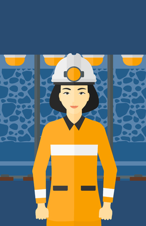 mine lamp: An asian woman in hardhat with torch on the background of mining tunnel with lights and rails vector flat design illustration. Vertical layout.