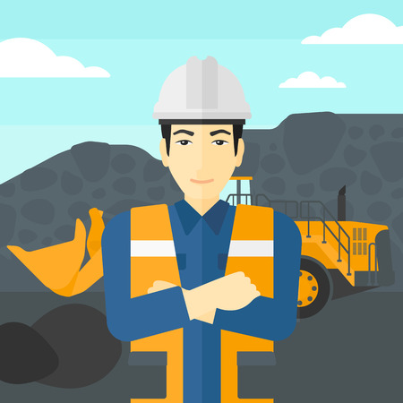 An asian miner standing in front of a big mining equipment on the background of coal mine vector flat design illustration. Square layout. Иллюстрация