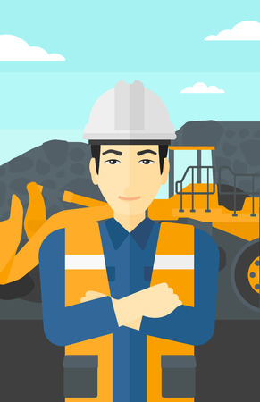 mining equipment: An asian miner standing in front of a big mining equipment on the background of coal mine vector flat design illustration. Vertical layout. Illustration