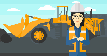 mining equipment: An asian woman standing in front of a big mining equipment on the background of coal mine vector flat design illustration. Horizontal layout. Illustration