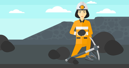 An asian woman sitting with coal in hands and a pickaxe on the background of coal mine vector flat design illustration. Horizontal layout. Illustration