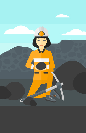 An asian woman sitting with coal in hands and a pickaxe on the background of coal mine vector flat design illustration. Vertical layout.