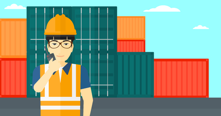 An asian man talking to a portable radio on cargo containers background vector flat design illustration. Horizontal layout.