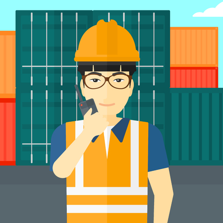 An asian man talking to a portable radio on cargo containers background vector flat design illustration. Square layout.