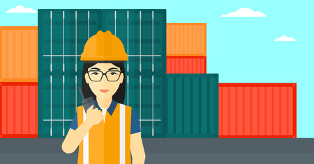 An asian woman talking to a portable radio on cargo containers background vector flat design illustration. Horizontal layout. Illustration