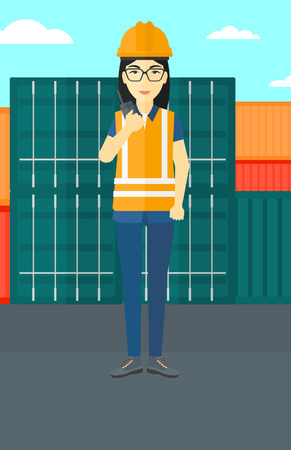 An asian woman talking to a portable radio on cargo containers background vector flat design illustration. Vertical layout.