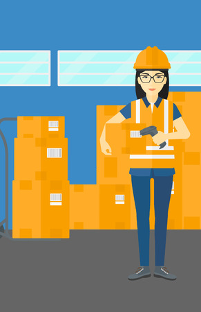 An asian  woman checking barcode of a box with a scanner on the background of cardboard boxes in warehouse vector flat design illustration. Vertical layout. Illustration