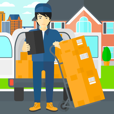 shipper: An asian delivery man standing near cart with boxes and holding a file in a hand on the background of delivery truck and a house vector flat design illustration. Square layout.