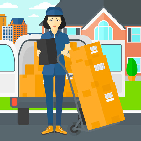 shipper: An asian delivery woman standing near cart with boxes and holding a file in a hand on the background of delivery truck and a house vector flat design illustration. Square layout. Illustration