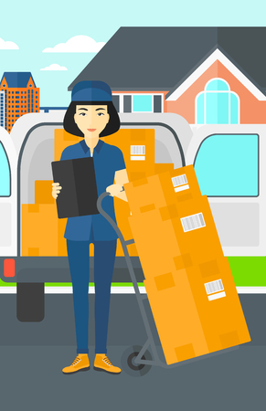 shipper: An asian delivery woman standing near cart with boxes and holding a file in a hand on the background of delivery truck and a house vector flat design illustration. Vertical layout.