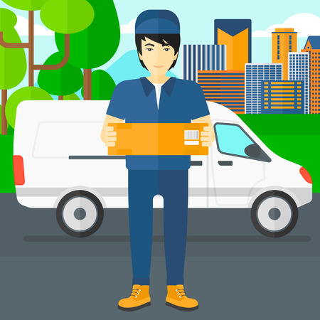 carrying box: An asian delivery man carrying box on the background of the city and delivery truck vector flat design illustration. Square layout. Illustration