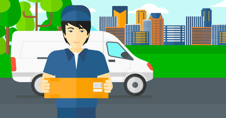 man carrying box: An asian delivery man carrying box on the background of the city and delivery truck vector flat design illustration. Horizontal layout.