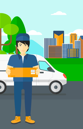 carrying box: An asian delivery man carrying box on the background of the city and delivery truck vector flat design illustration. Vertical layout.
