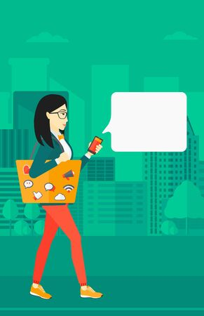 smart phone woman: An asian woman walking with a smartphone and a bag full of social media icons on a city background vector flat design illustration. Vertical layout.