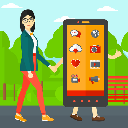 smart phone woman: An asian woman walking with a big smartphone in the park vector flat design illustration. Square layout.