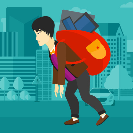 cary: An asian man walking with a big backpack full of different devices on a city background vector flat design illustration. Square layout.