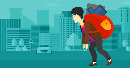 cary: An asian man  walking with a big backpack full of different devices on a city background vector flat design illustration. Horizontal layout.