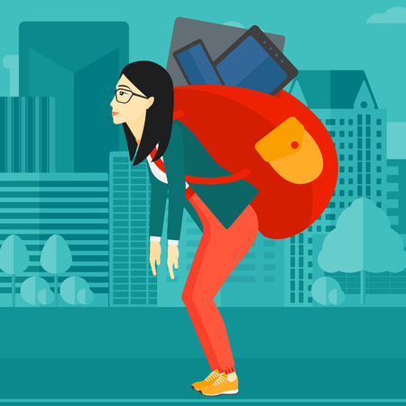cary: An asian sad woman walking with a big backpack full of different devices on a city background vector flat design illustration. Square layout.