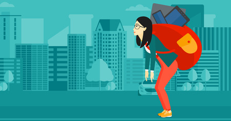 cary: An asian sad woman walking with a big backpack full of different devices on a city background vector flat design illustration. Horizontal layout.